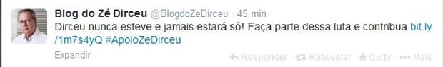 Perfil do Twitter ligado a José Dirceu pede que seguidores contribuam para a campanha que está arrecandando recursos para a multa aplicada ao ex-ministro (Foto: Reprodução)