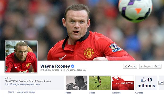 Wayne Rooney do Manchester United tem 19,639,589 de fãs no Facebook (Foto: Reprodução/Facebook)