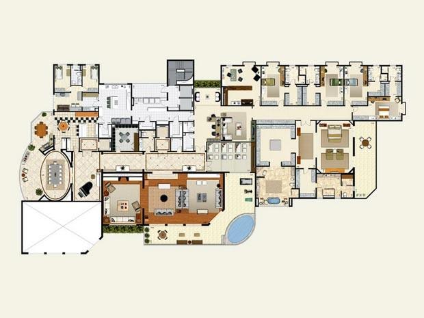 No apartamento da Vila Andrade caberiam quatro apartamentos da Vieira Souto – e ainda sobraria espaço (Foto: Divulgação)
