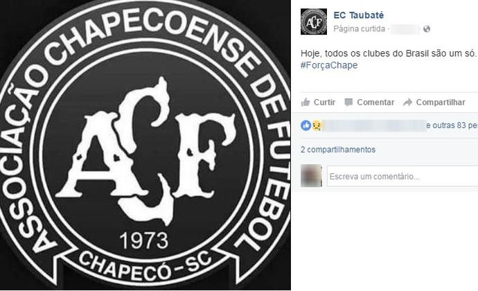 Taubaté homenageia Chapecoense nas redes sociais (Foto: Reprodução/Facebook)