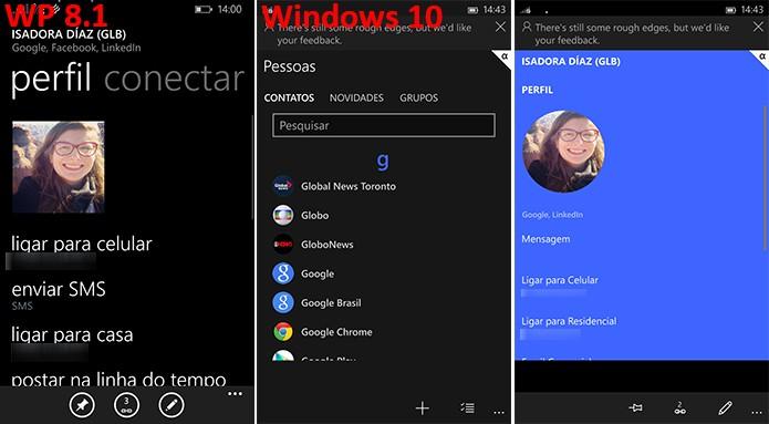 Aplicativo de contatos do Windows 10 traz mudanças significativas na interface (Foto: Reprodução/Elson de Souza)