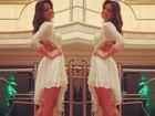 Bruna Marquezine escolhe vestido decotado para o réveillon