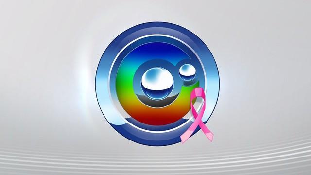 """TV TEM aderiu a campanha do """"Outubro Rosa"""" até mesmo no logo da emissora (Foto: Reprodução TV TEM)"""