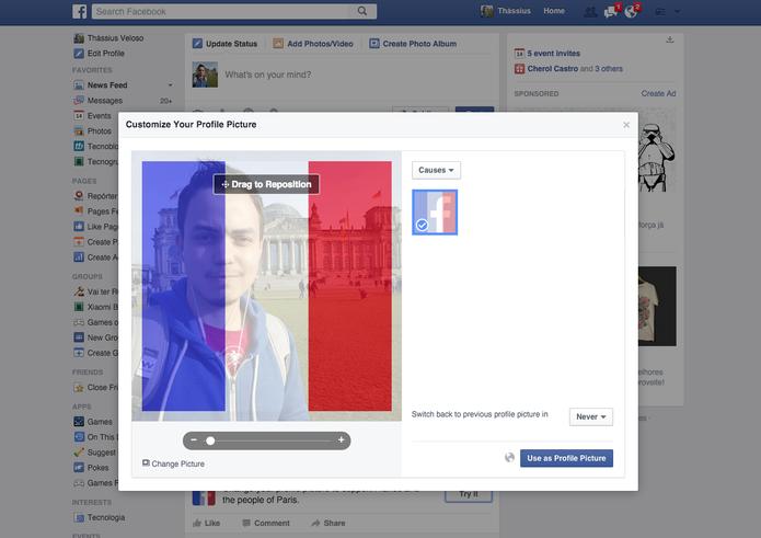 Facebook muda foto de perfil em homenagem aos mortos em Paris (Foto: Reprodução)