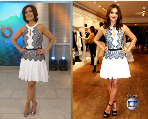 Fátima e Bruna Marquezine  usam o mesmo look (Foto: reprodução TV Globo)