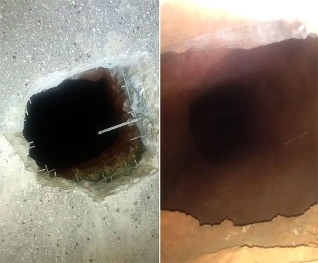 Túnel foi escavado no piso do refeitório da unidade (Foto: Divulgação/Polícia Militar)