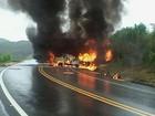 Caminhonete e caminhão pegam fogo após acidente na BR-265 em MG