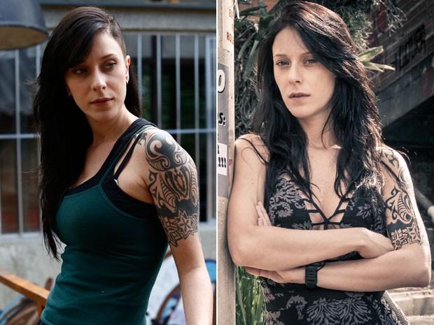 Ximena em look masculino e agora, mais feminina (Foto: Raphael Dias/Fabiano Battaglin/Gshow)
