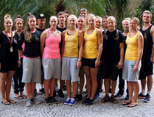 Equipe dinamarquesa de ginástica no Rio de Janeiro (Foto: José Geraldo Azevedo)