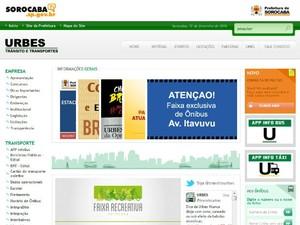 Condutores pode acessar serviço clicando no quadro laranja (Foto: Reprodução/ Urbes.com.br)