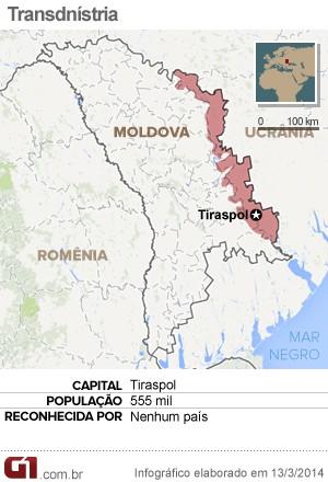 mapa Transdnístria (Foto: Arte/G1)
