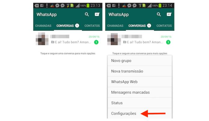 Acessando as configurações do WhatsApp no Android (Foto: Reprodução/Marvin Costa) (Foto: Acessando as configurações do WhatsApp no Android (Foto: Reprodução/Marvin Costa))