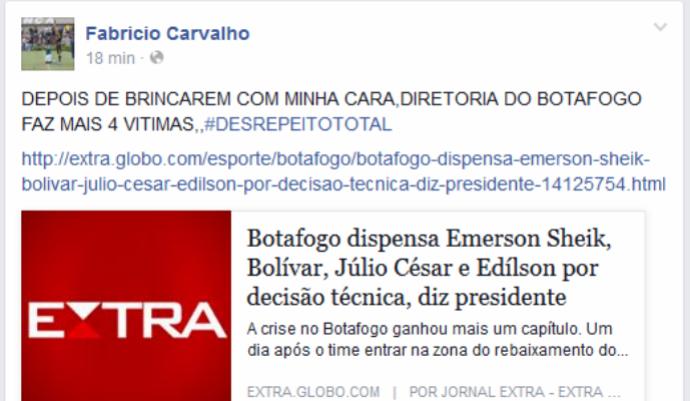 Fabrício Carvalho critica botafogo (Foto: Reprodução)