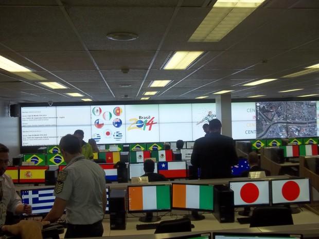 Sala de monitoramento da central da PF que vai ajudar na segurança durante a Copa (Foto: Weldson Medeiros/G1)