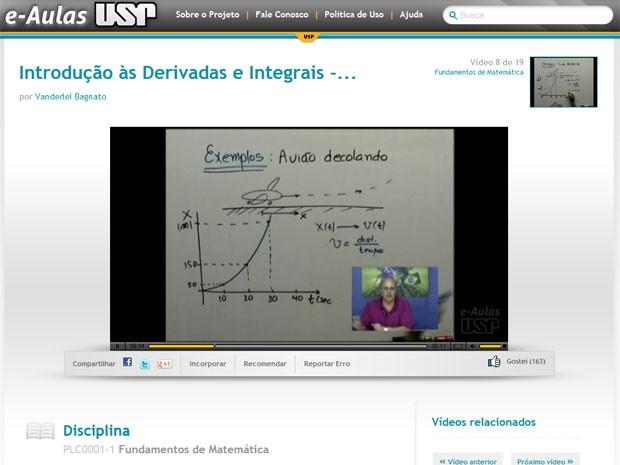 Exemplo de videoaula do site da USP (Foto: Reprodução)