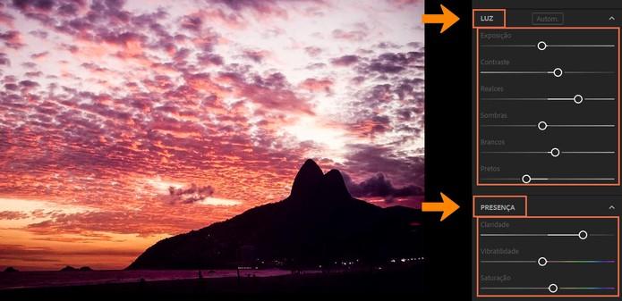 Altere as edições de luz na imagem (Foto: Reprodução/Barbara Mannara)
