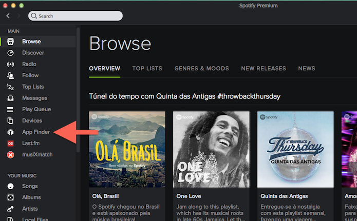 Acessando o App Finder do Spotify Premium (Foto: Reprodução/Marvin Costa)