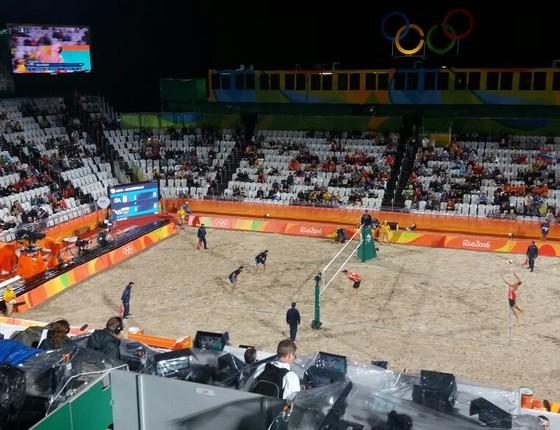 Arquibancadas vazias no jogo Rússia x Itália do vôlei de praia masculino pelas quartas de final (Foto: Sérgio Garcia)