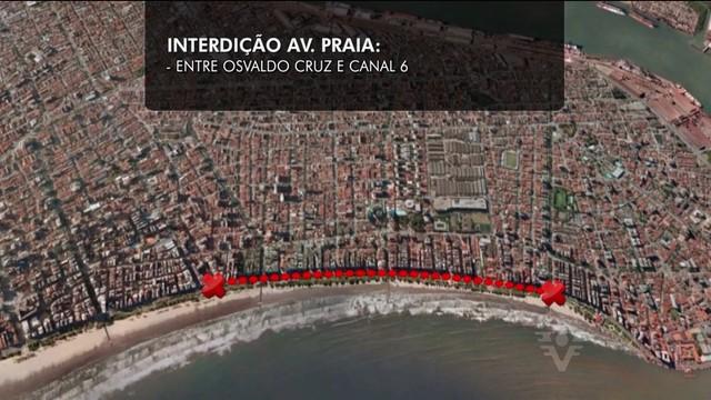 Mapa que mostra a faixa da avenida da praia que será bloqueada para a Cãominhada (Foto: Reprodução/TV Tribuna)
