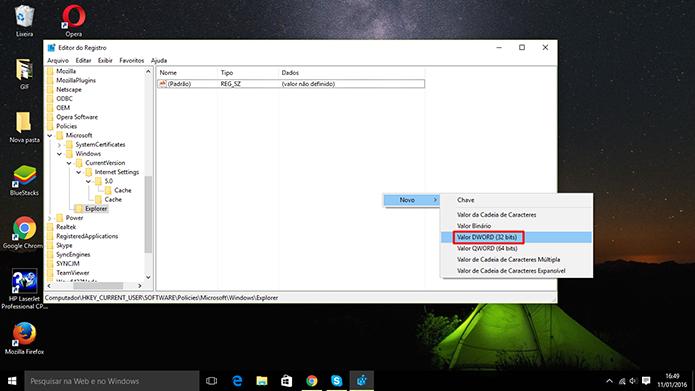 Usuário precisa criar nova entrada no registro do Windows 10 para desativar central de notificações (Foto: Reprodução/Elson de Souza)