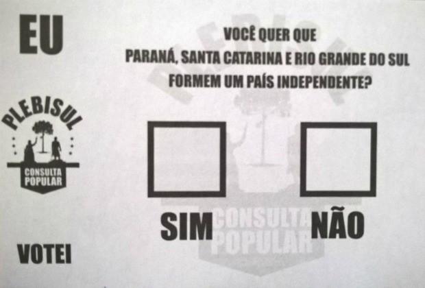 Consulta popular sobre independência dos três estados do Sul foi no sábado (1) (Foto: Anidria Rocha/Arquivo pessoal)