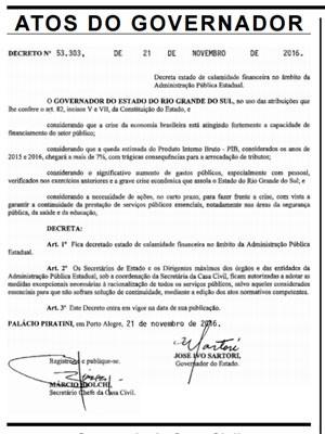 Decreto públicado nesta terça-feira (Foto: Reprodução/G1)