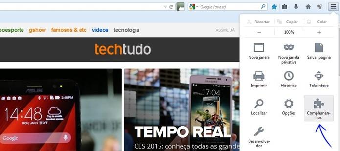 """Meni """"Complementos"""" do Firefox em destaque (Foto: Reprodução/Raquel Freire)"""