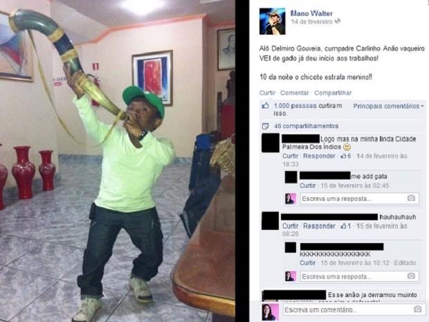Carlinhos Anão em divulgação de show na página do cantor Mano Walter na internet (Foto: Reprodução/Facebook)