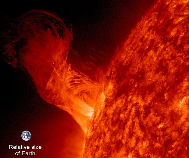 Erupção solar (Foto: Nasa/SDO/Steele Hill)