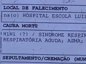Certidão de óbito aponta suspeita de H1N1 (Foto: Reprodução/TV Rio Sul)