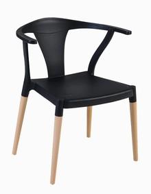 Cadeira Alba, com encosto de polímero e pés de jequitibá. Saccaro (Foto: Divulgação)