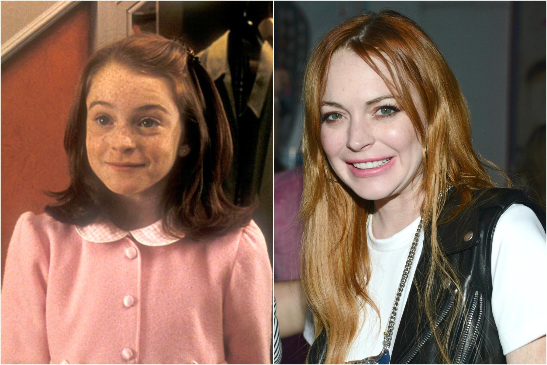 Lindsay Lohan já era atriz em 1998 (à esq.), quando tinha 12 anos e estrelou seu primeiro longa-metragem, o clássico de 'Sessão da Tarde' 'Operação Cupido'. Ela completa 28 em abril de 2014. (Foto: Divulgação e Getty Images)
