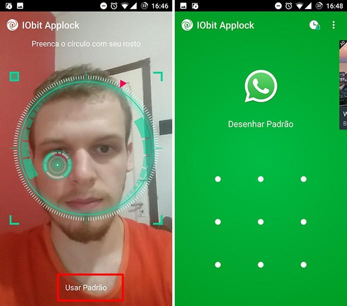 IOBit Applock permite que usuário use o padrão se reconhecimento facial não funcionar (Foto: Reprodução/Elson de Souza)