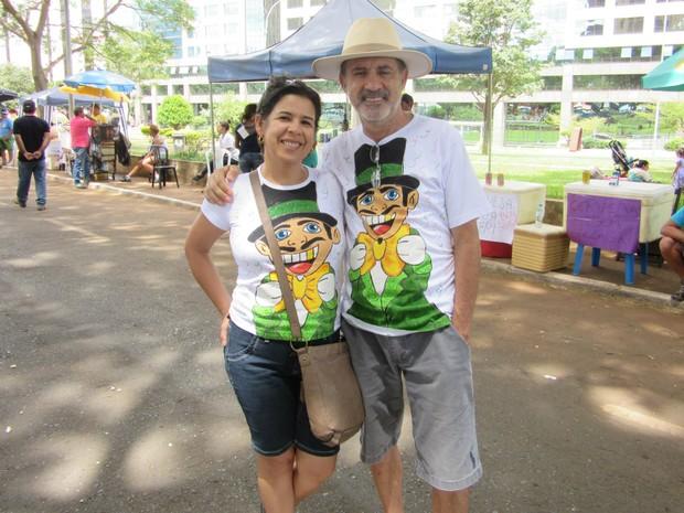 O casal Verônica Souza e Celso Cirino no Galinho de Brasília (Foto: Jéssica Simabuku/G1)