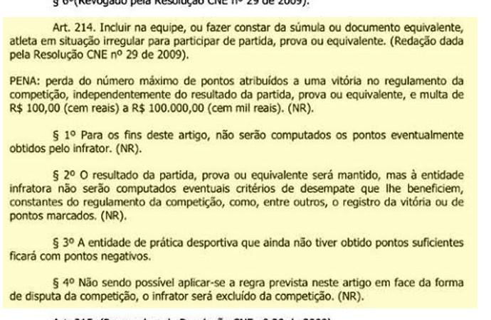 Documento CBF Atleta irregular (Foto: Reprodução)