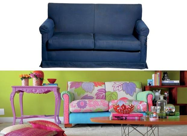 Desgastado e com rasgos, o sofá garimpado por R$ 150 na Casa Velha teve sua estrutura reformada e tecido substituído. (Foto: Casa e Jardim)