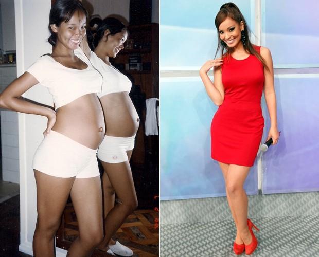 Na foto: Carol Nakamura quando estava grávida e atualmente, no Domingão (Foto: Arquivo Pessoal e Jacson Vogel / TV Globo)