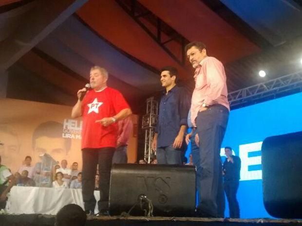 Lula, Helder e Paulo Rocha participam da convenção do PMDB em Belém (Foto: Alexandre Yuri/ G1)