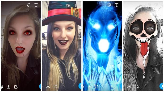 Snapchat lança filtros para comemorar o Halloween (Foto: Reprodução/Camila Peres)