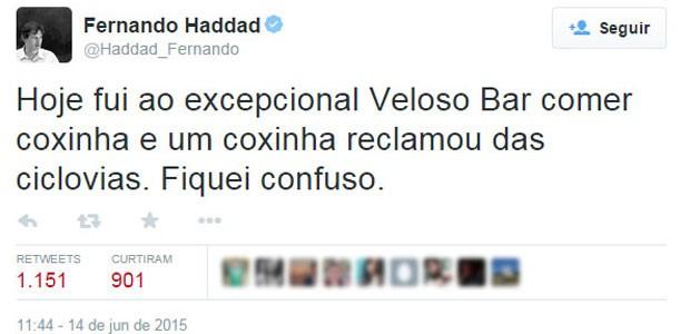 Haddad reclama de crítico a ciclovias em redes sociais (Foto: Reprodução/Twitter)