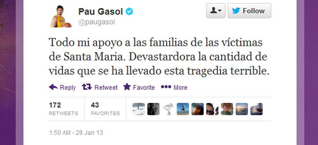 Mensagem de Pau Gasol sobre a tragédia de Santa Maria (Foto: Reprodução Twitter)