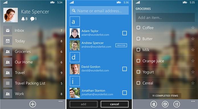 Wunderlist é um organizador de tarefas e lista para Windows Phone com belo visual (Foto: Divulgação/Windows Phone Store)