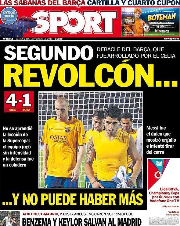 Capa Sport Celta 4 x 1 Barcelona