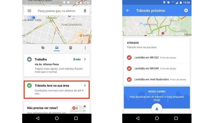 Condições do trânsito na região onde usuário está (Foto: Reprodução/Raquel Freire)