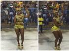 Musa da Tuiuti vai a ensaio técnico vestida com cristais Beyoncé