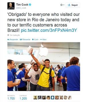 Tim Cook, presidente da Apple, usou o Twitter para agradecer os brasileiros pela recepção em abertura da Apple Store no Rio (Foto: Reprodução/Tim Cook/Twitter)