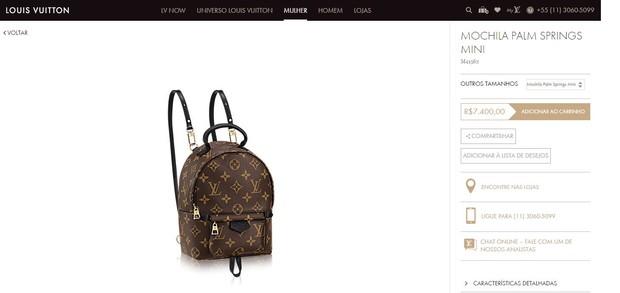 Julia Faria usa mochila de R$ 8 mil (Foto: Reprodução da Internet)
