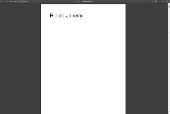 E-book 'Rio de Janeiro' criado. Escolha entre imprimir ou fazer o download na aba superior (Foto: Reprodução/Carol Danelli)