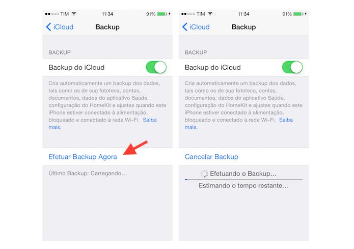 Efetuando o backup manual do iCloud no iPhone (Foto: Reprodução/Marvin Costa)