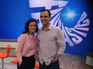 Os apresentadores Renata Vasconcelos e Tadeu Schim (Foto: Cristiane Cardoso / G1)